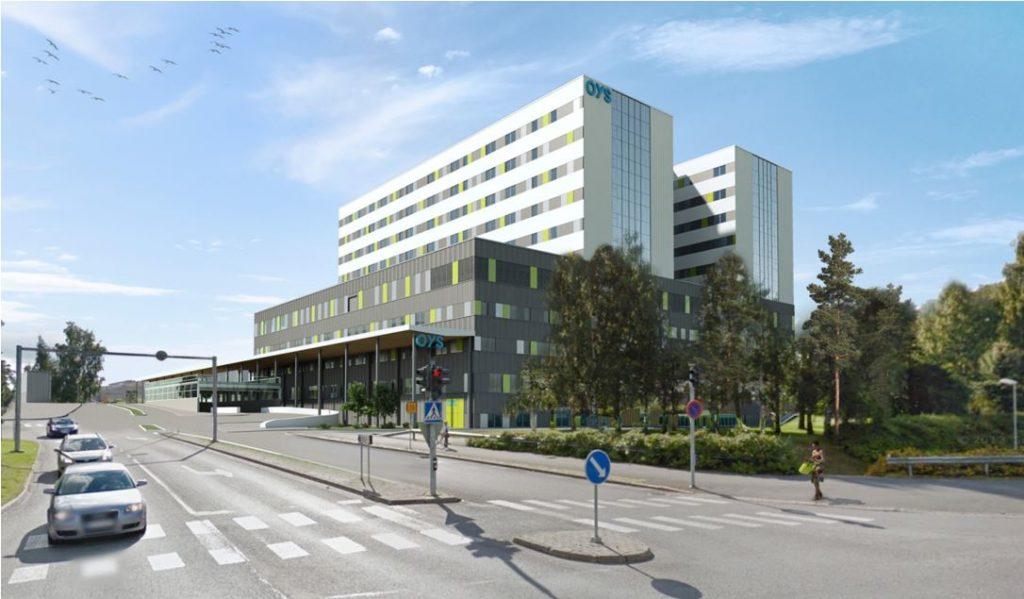 Mallinnuskuva tulevaisuuden sairaalasta ulkoapäin.