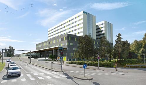 Kuvassa tietokoneella suunniteltu mallinnuskuva tulevaisuuden sairaalasta