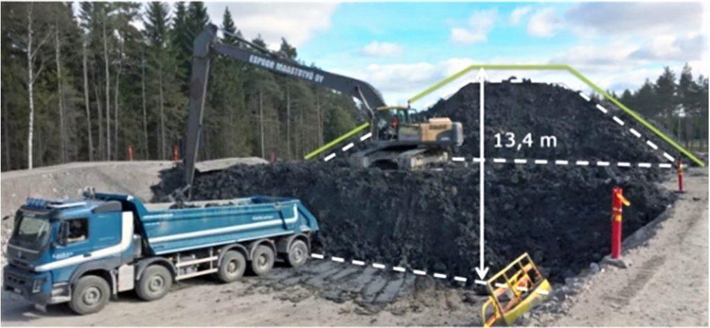 Valokuva, jossa kuorma-auto ja kaivinkone rakentavat meluvallia.