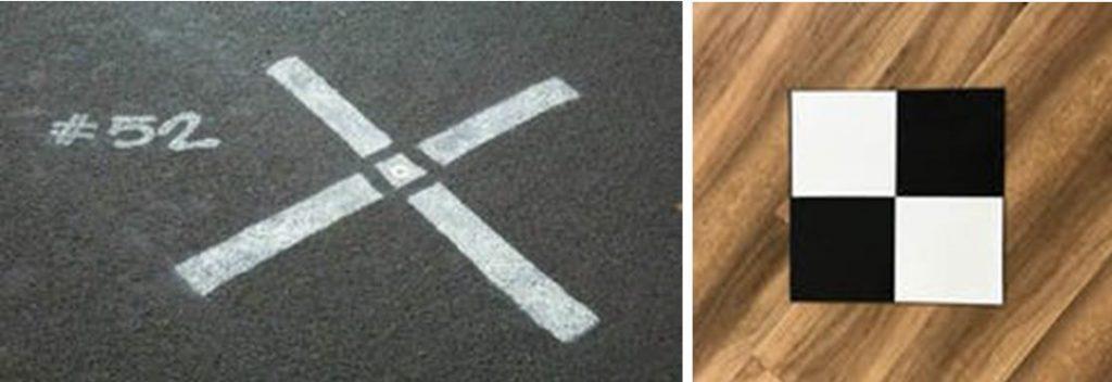 Kaksi valokuvaa, joissa toisessa katuun maalattu rasti ja toisessa liikuteltava signaali.