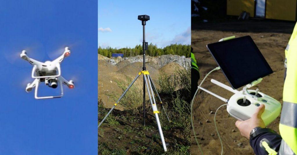 Kolme valokuvaa droonista, tukiasemasta ja ohjaimesta.