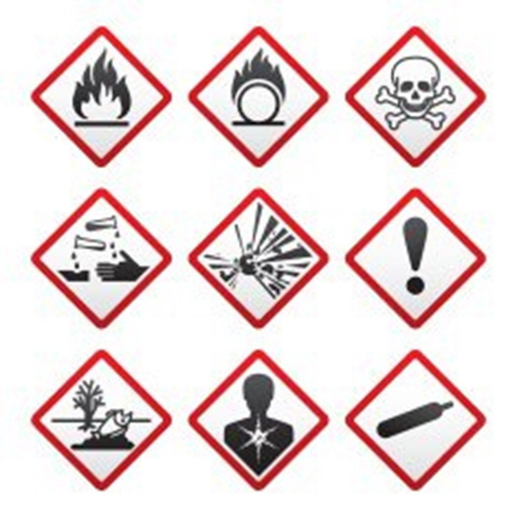 Kuvassa yhdeksän kemikaalien varoitusmerkkiä.