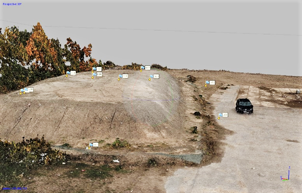 Kuva, jossa maamassakasa ja sen päällä signaalipisteitä.