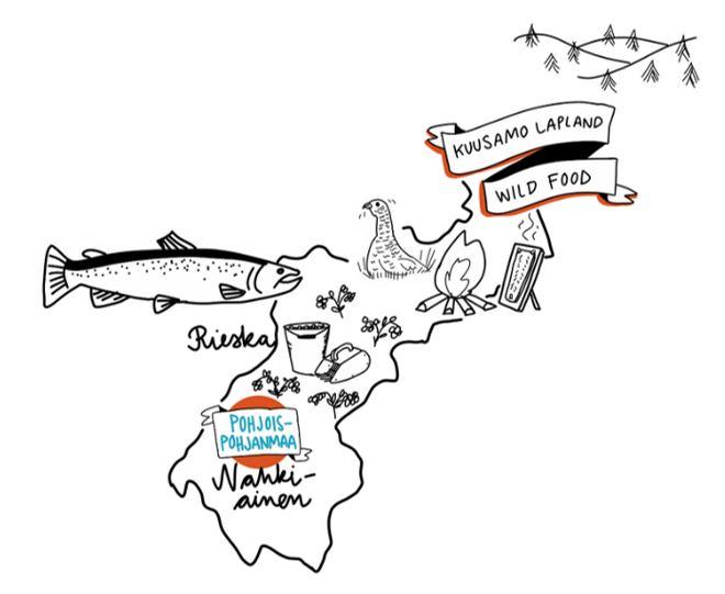 Kuviossa piirrettynä Pohjois-Pohjanmaan maakunta ja sanat Kuusamo Lapland, Wild Food, Rieska ja Nahkiainen.